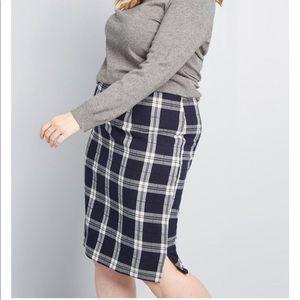 NEW Modcloth Erudite Energy Plaid Pencil Skirt